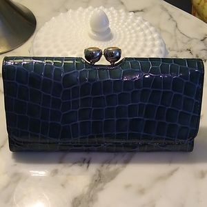 Ted Baker Blue Croc Patent Matinee Wallet